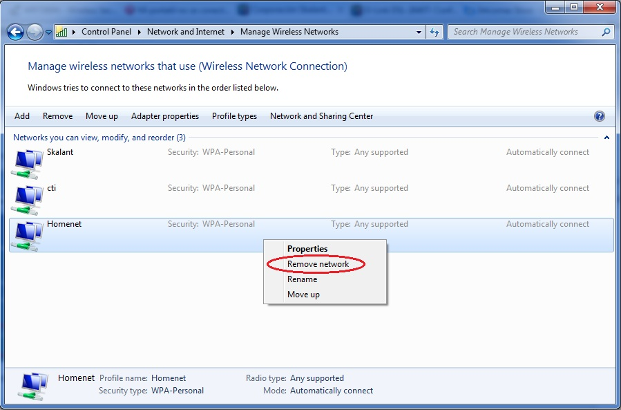 Remove a wireless network profile