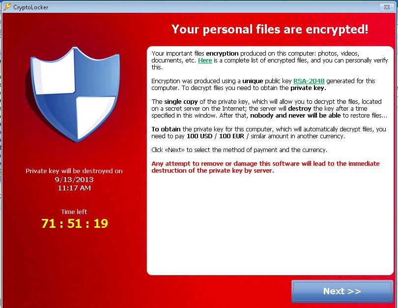 Ransomware W32/Crilock.A según Microsoft Malware Protection Center
